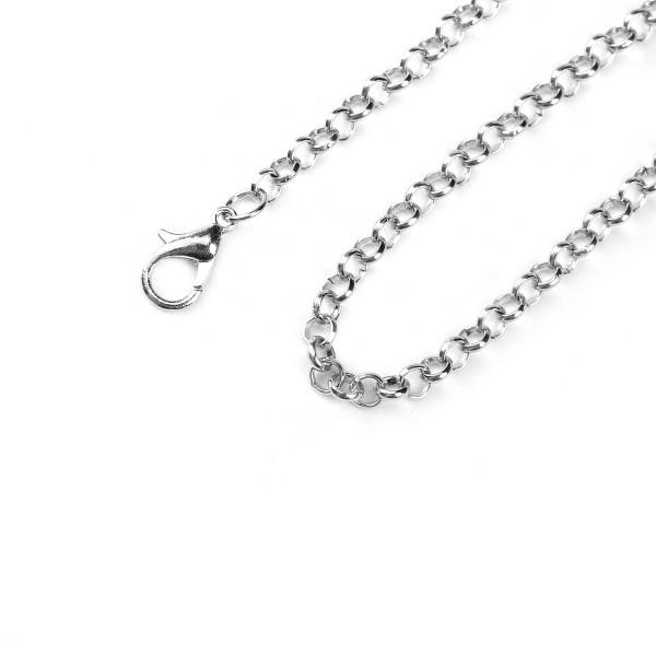 Halskette platinfarben mit Karabinerverschluss